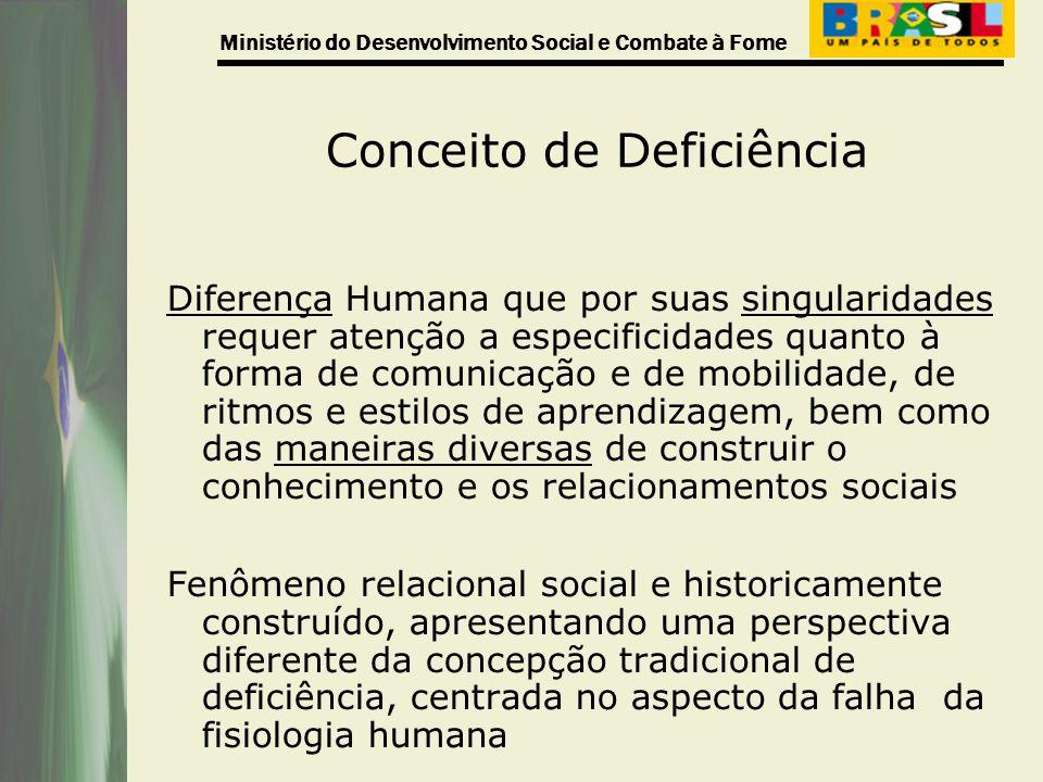 Ministério do Desenvolvimento Social e Combate à Fome Conceito de Deficiência Diferença Humana que por suas singularidades requer atenção a especifici
