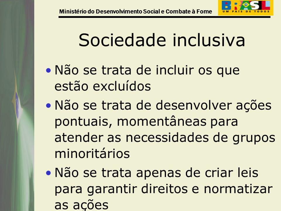 Ministério do Desenvolvimento Social e Combate à Fome Sociedade inclusiva Não se trata de incluir os que estão excluídos Não se trata de desenvolver a