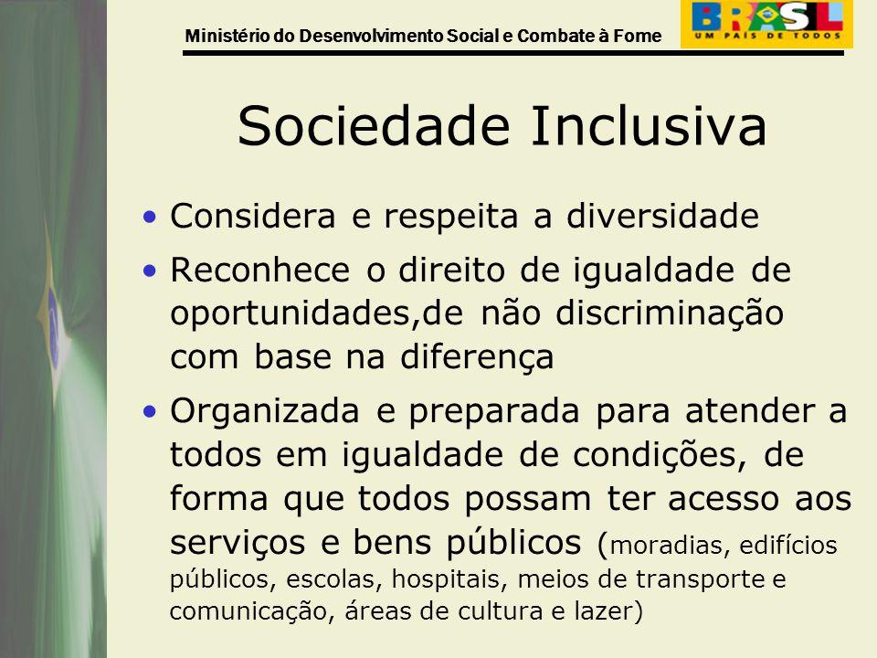 Ministério do Desenvolvimento Social e Combate à Fome Sociedade Inclusiva Considera e respeita a diversidade Reconhece o direito de igualdade de oport