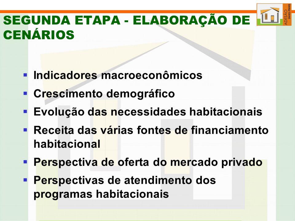 SEGUNDA ETAPA - ELABORAÇÃO DE CENÁRIOS Indicadores macroeconômicos Crescimento demográfico Evolução das necessidades habitacionais Receita das várias fontes de financiamento habitacional Perspectiva de oferta do mercado privado Perspectivas de atendimento dos programas habitacionais