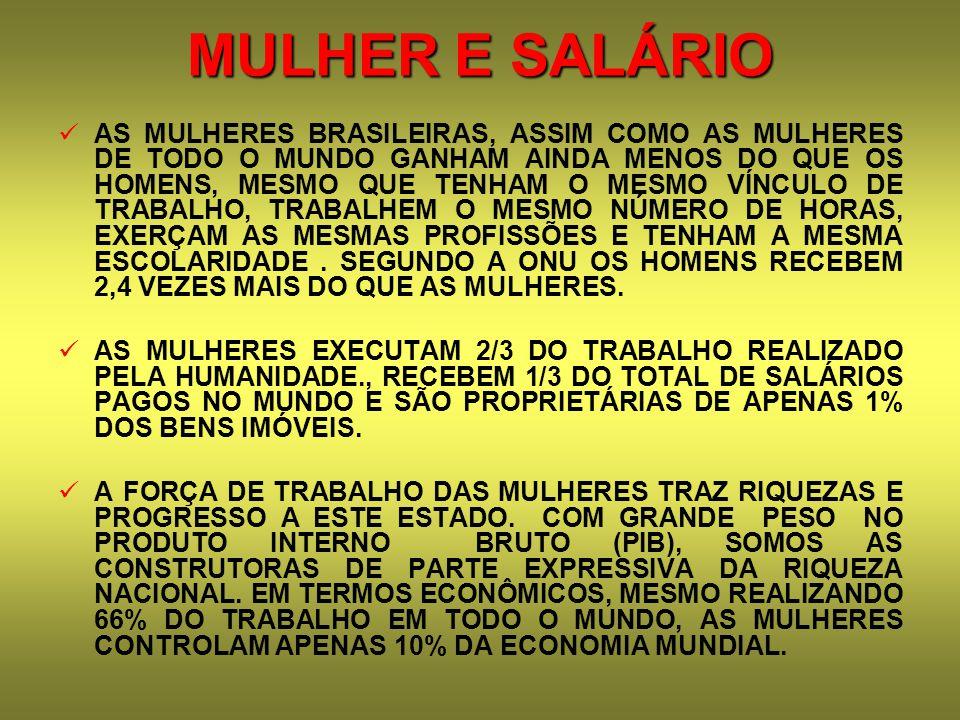 MULHER E SALÁRIO AS MULHERES BRASILEIRAS, ASSIM COMO AS MULHERES DE TODO O MUNDO GANHAM AINDA MENOS DO QUE OS HOMENS, MESMO QUE TENHAM O MESMO VÍNCULO