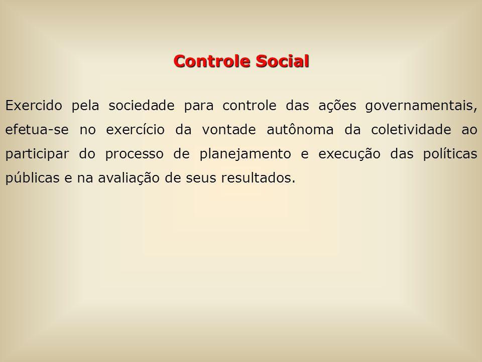 Controle Social Exercido pela sociedade para controle das ações governamentais, efetua-se no exercício da vontade autônoma da coletividade ao participar do processo de planejamento e execução das políticas públicas e na avaliação de seus resultados.