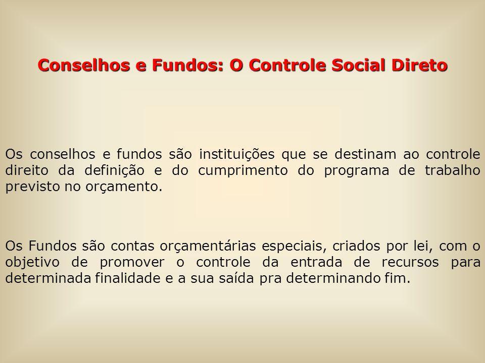 Conselhos e Fundos: O Controle Social Direto Os conselhos e fundos são instituições que se destinam ao controle direito da definição e do cumprimento do programa de trabalho previsto no orçamento.