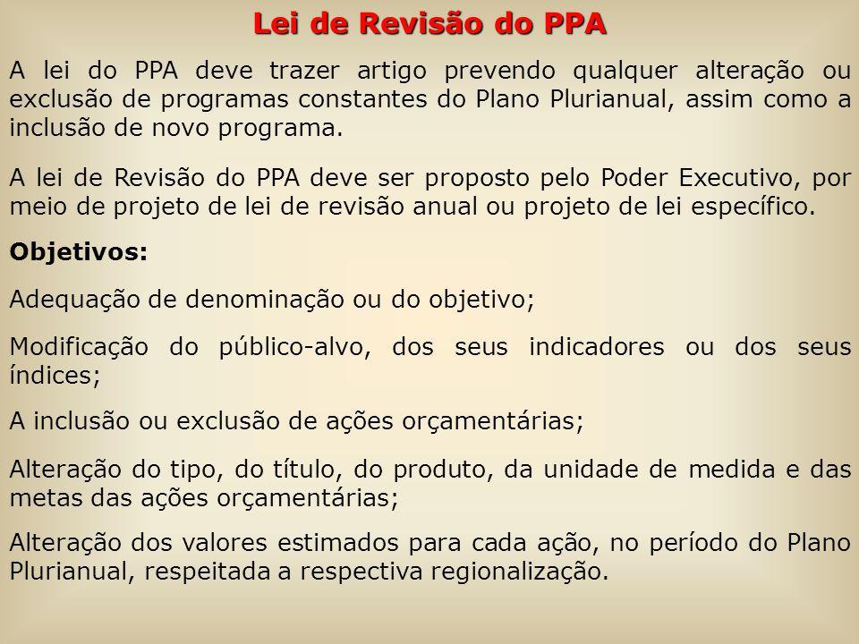 Lei de Revisão do PPA A lei do PPA deve trazer artigo prevendo qualquer alteração ou exclusão de programas constantes do Plano Plurianual, assim como a inclusão de novo programa.