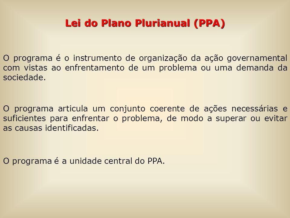 Lei do Plano Plurianual (PPA) O programa é o instrumento de organização da ação governamental com vistas ao enfrentamento de um problema ou uma demanda da sociedade.