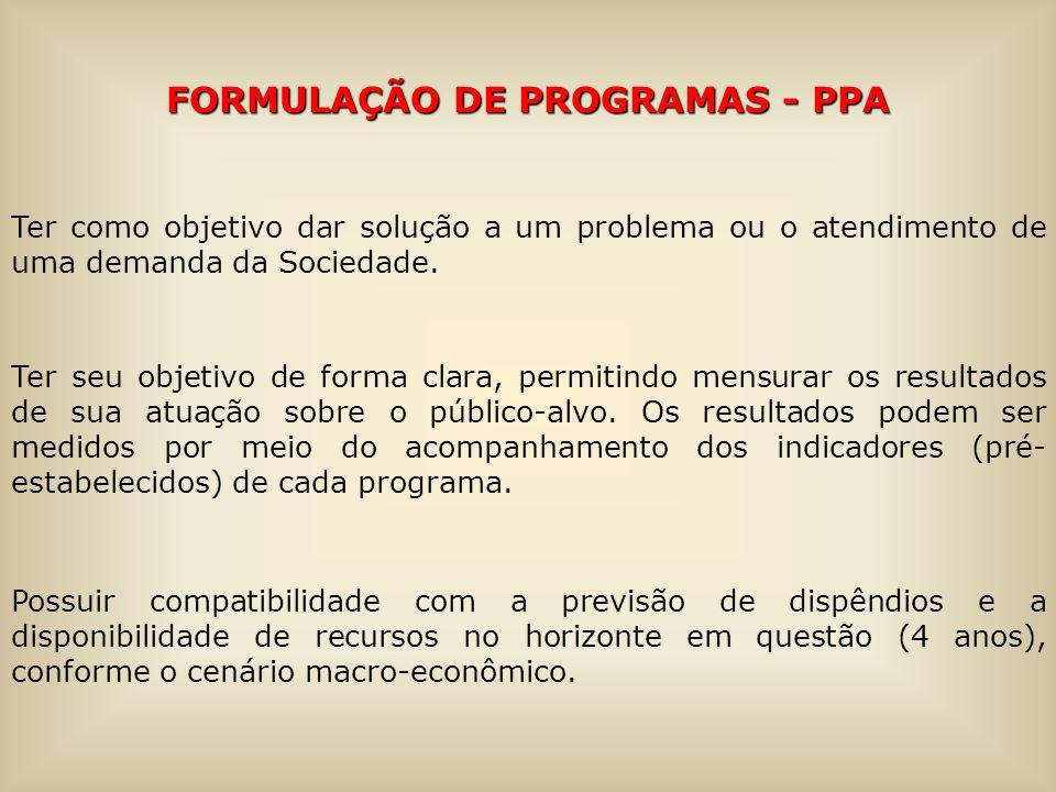 FORMULAÇÃO DE PROGRAMAS - PPA Ter como objetivo dar solução a um problema ou o atendimento de uma demanda da Sociedade. Ter seu objetivo de forma clar