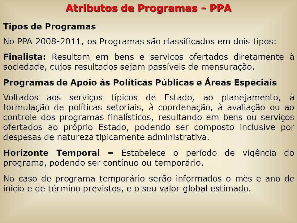 Atributos de Programas - PPA Tipos de Programas No PPA 2008-2011, os Programas são classificados em dois tipos: Finalista: Resultam em bens e serviços ofertados diretamente à sociedade, cujos resultados sejam passíveis de mensuração.
