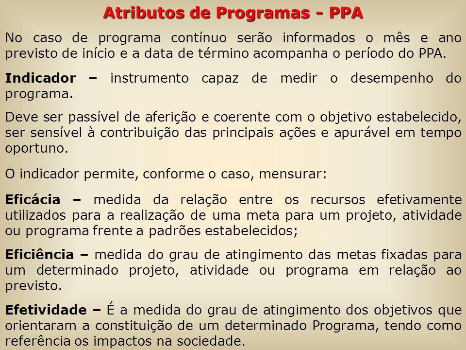 Atributos de Programas - PPA No caso de programa contínuo serão informados o mês e ano previsto de início e a data de término acompanha o período do PPA.