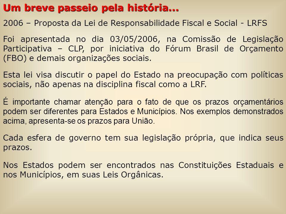 Um breve passeio pela história... 2006 – Proposta da Lei de Responsabilidade Fiscal e Social - LRFS Foi apresentada no dia 03/05/2006, na Comissão de