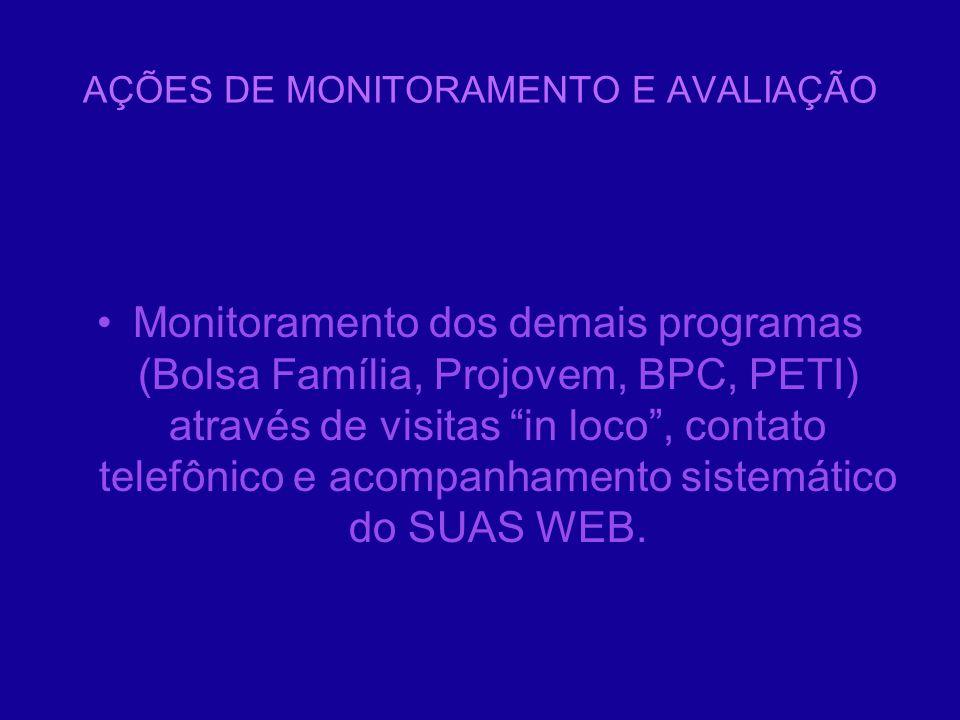 AÇÕES DE MONITORAMENTO E AVALIAÇÃO Monitoramento dos demais programas (Bolsa Família, Projovem, BPC, PETI) através de visitas in loco, contato telefôn