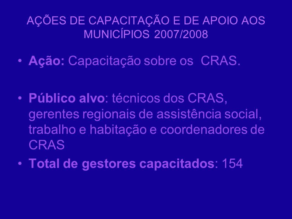 AÇÕES DE CAPACITAÇÃO E DE APOIO AOS MUNICÍPIOS 2007/2008 Ação: Capacitação sobre os CRAS. Público alvo: técnicos dos CRAS, gerentes regionais de assis