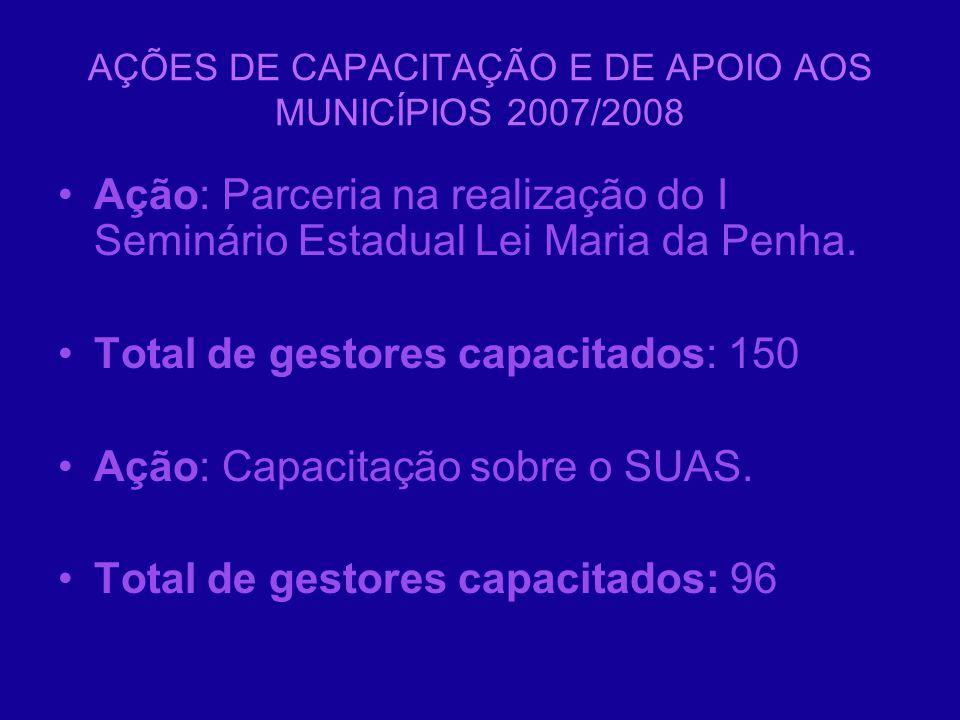 AÇÕES DE CAPACITAÇÃO E DE APOIO AOS MUNICÍPIOS 2007/2008 Ação: Parceria na realização do I Seminário Estadual Lei Maria da Penha. Total de gestores ca