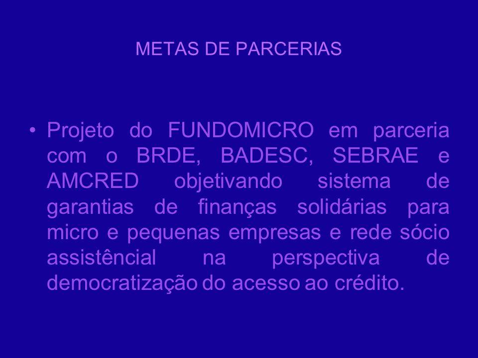 METAS DE PARCERIAS Projeto do FUNDOMICRO em parceria com o BRDE, BADESC, SEBRAE e AMCRED objetivando sistema de garantias de finanças solidárias para