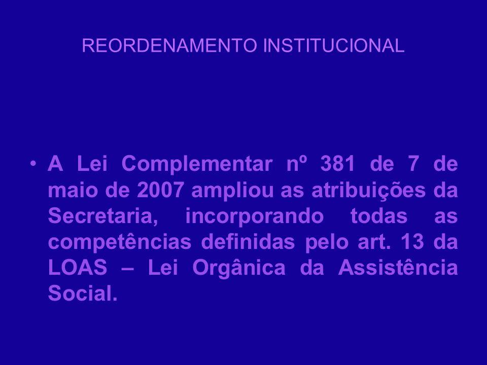 REORDENAMENTO INSTITUCIONAL A Lei Complementar nº 381 de 7 de maio de 2007 ampliou as atribuições da Secretaria, incorporando todas as competências de