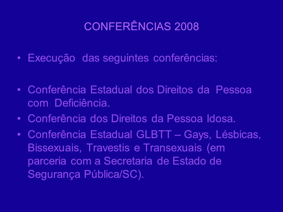 CONFERÊNCIAS 2008 Execução das seguintes conferências: Conferência Estadual dos Direitos da Pessoa com Deficiência. Conferência dos Direitos da Pessoa