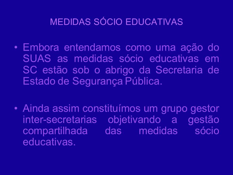 MEDIDAS SÓCIO EDUCATIVAS Embora entendamos como uma ação do SUAS as medidas sócio educativas em SC estão sob o abrigo da Secretaria de Estado de Segur