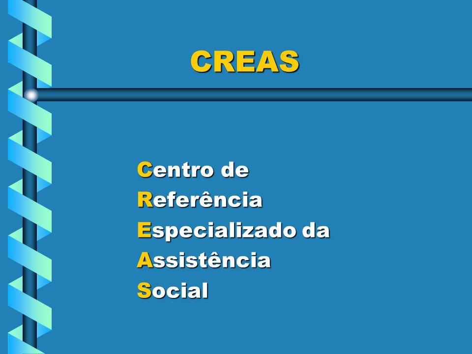Centro de Centro de Referência Referência Especializado da Especializado da Assistência Assistência Social Social CREAS CREAS