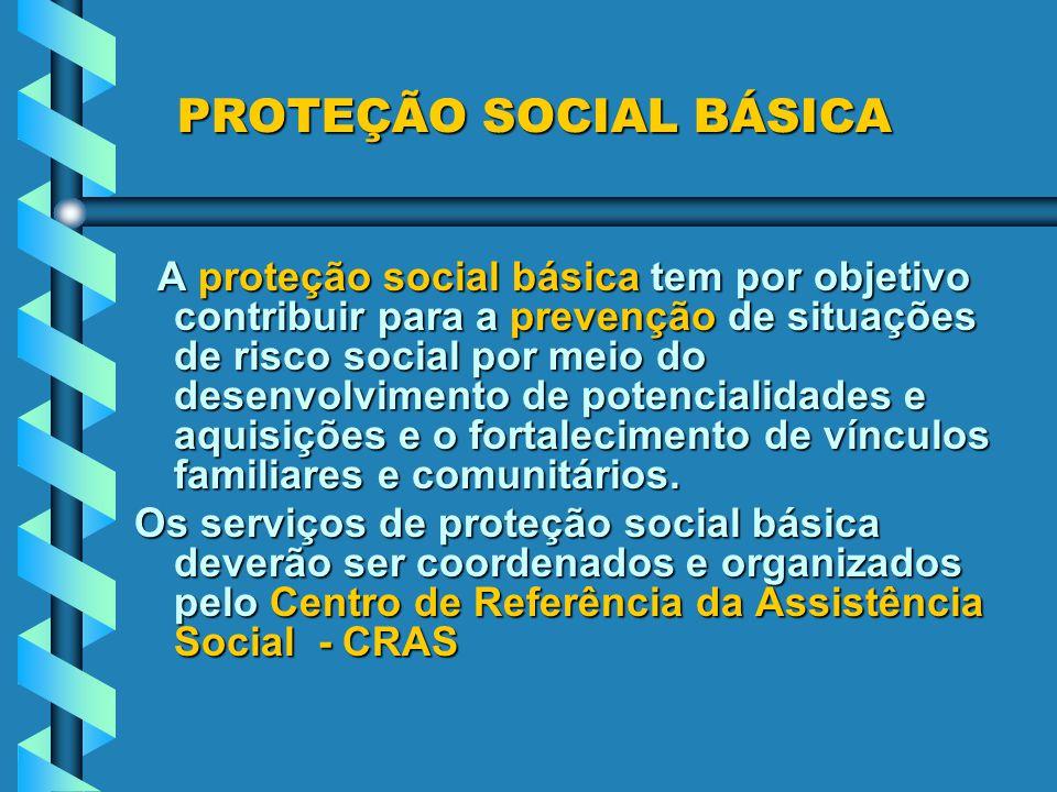PROTEÇÃO SOCIAL BÁSICA A proteção social básica tem por objetivo contribuir para a prevenção de situações de risco social por meio do desenvolvimento de potencialidades e aquisições e o fortalecimento de vínculos familiares e comunitários.