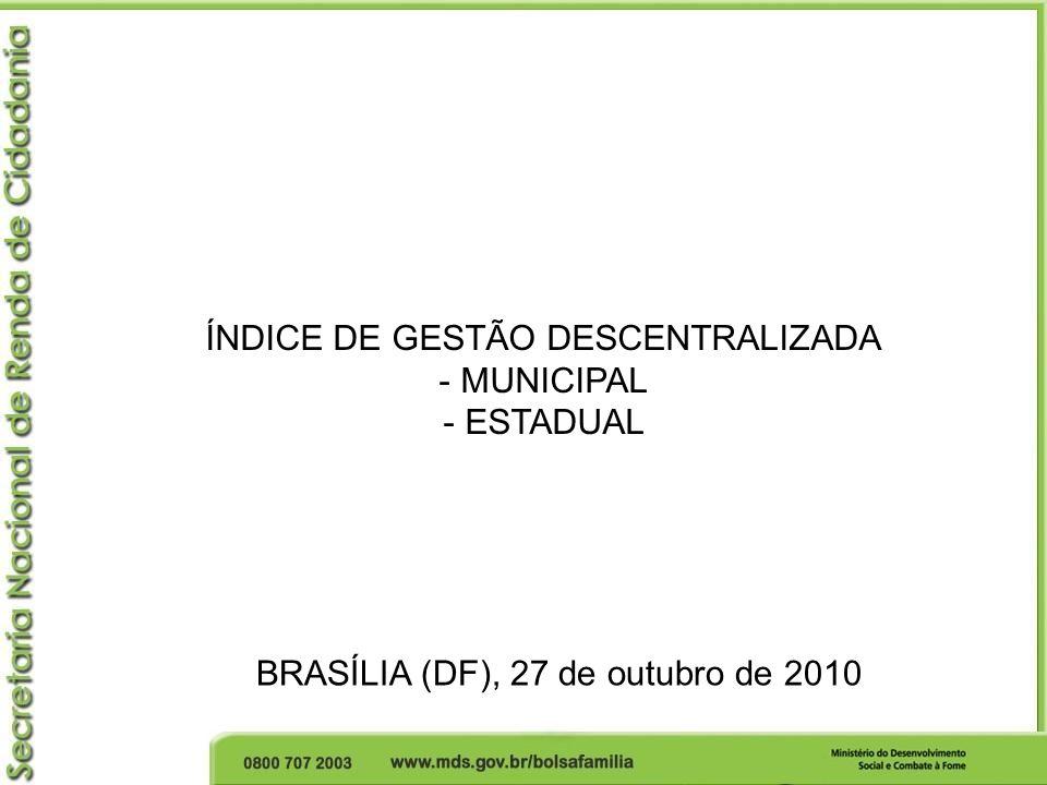 Critérios para recebimento do IGD Municípios que aderiram ao PBF – Termo de Adesão; (5.565 municípios) Municípios habilitados em algum nível de gestão da Assistência Social; (em mai/10: 5.526 1 municípios habilitados - 39 municípios não habilitados 33 municípios poderiam receber) Municípios que atingiram os critérios do IGD; (em mai/10: 5.422 1 municípios atingiram o índice - 104 1 municípios não atingiram o índice) Municípios que obtiverem taxas inferiores a 0,20 em cada indicador (em mai/10): 11 municípios com taxa 0,55 32 municípios com taxa 0,55 18 municípios com taxa 0,55 2 municípios com taxa 0,55