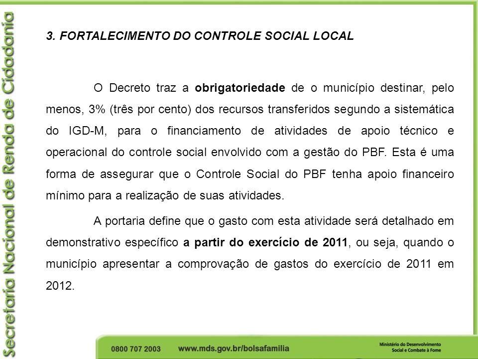 3. FORTALECIMENTO DO CONTROLE SOCIAL LOCAL O Decreto traz a obrigatoriedade de o município destinar, pelo menos, 3% (três por cento) dos recursos tran
