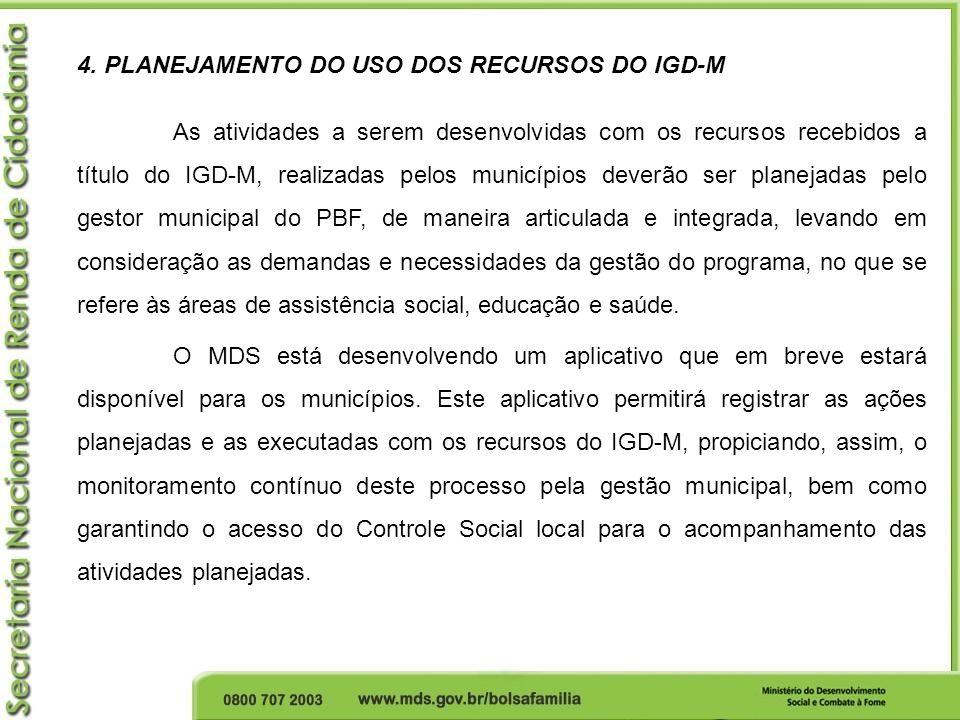 4. PLANEJAMENTO DO USO DOS RECURSOS DO IGD-M As atividades a serem desenvolvidas com os recursos recebidos a título do IGD-M, realizadas pelos municíp