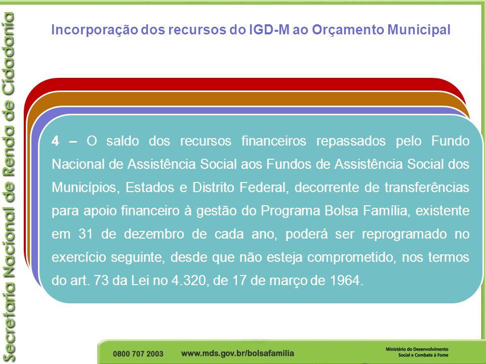 Incorporação dos recursos do IGD-M ao Orçamento Municipal 1 – Recurso recebido, incorporado ao orçamento e não utilizado no exercício anterior (superá