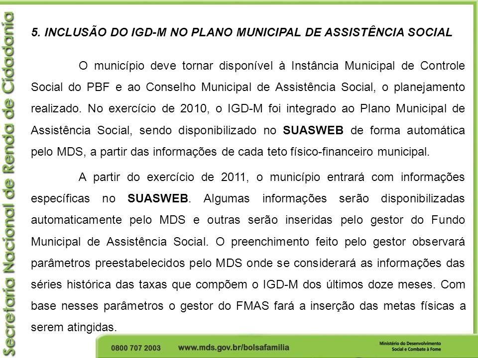 5. INCLUSÃO DO IGD-M NO PLANO MUNICIPAL DE ASSISTÊNCIA SOCIAL O município deve tornar disponível à Instância Municipal de Controle Social do PBF e ao