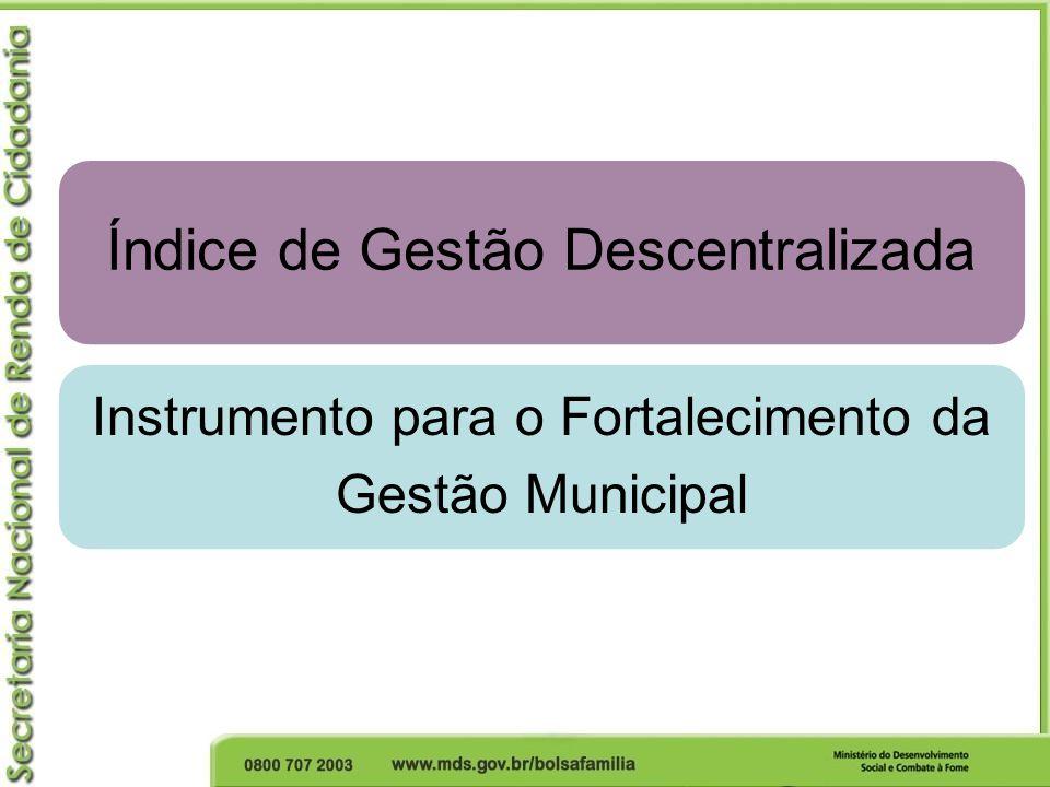 Marco Legal Portaria GM/MDS nº 148 de 27 de abril de 2006 – Cria o IGD Portaria GM/MDS nº 754 de 20/10/2010 altera a metodologia do IGD será publicada Lei nº 12.058 de 13 de outubro de 2009, alterou o art 8º da Lei nº 10.836 de 09 de janeiro de 2004 – Institucionaliza o IGD, tornando-o despesa obrigatória Decreto nº 7.332 de 19 de outubro de 2010, dá nova redação ao Decreto nº 5.209 de 17 de setembro de 2004, que regulamenta a Lei do PBF