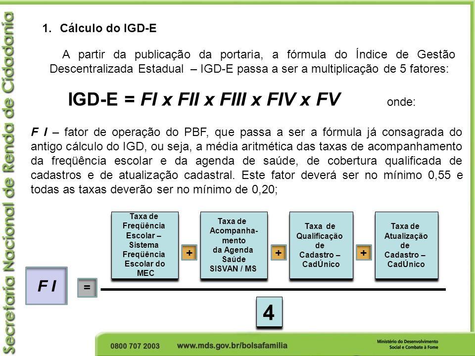 IGD-E = FI x FII x FIII x FIV x FV 1.Cálculo do IGD-E A partir da publicação da portaria, a fórmula do Índice de Gestão Descentralizada Estadual – IGD