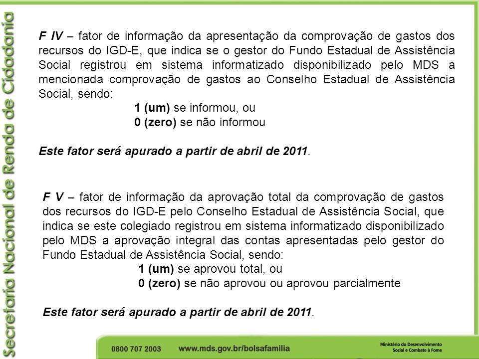 F IV – fator de informação da apresentação da comprovação de gastos dos recursos do IGD-E, que indica se o gestor do Fundo Estadual de Assistência Soc