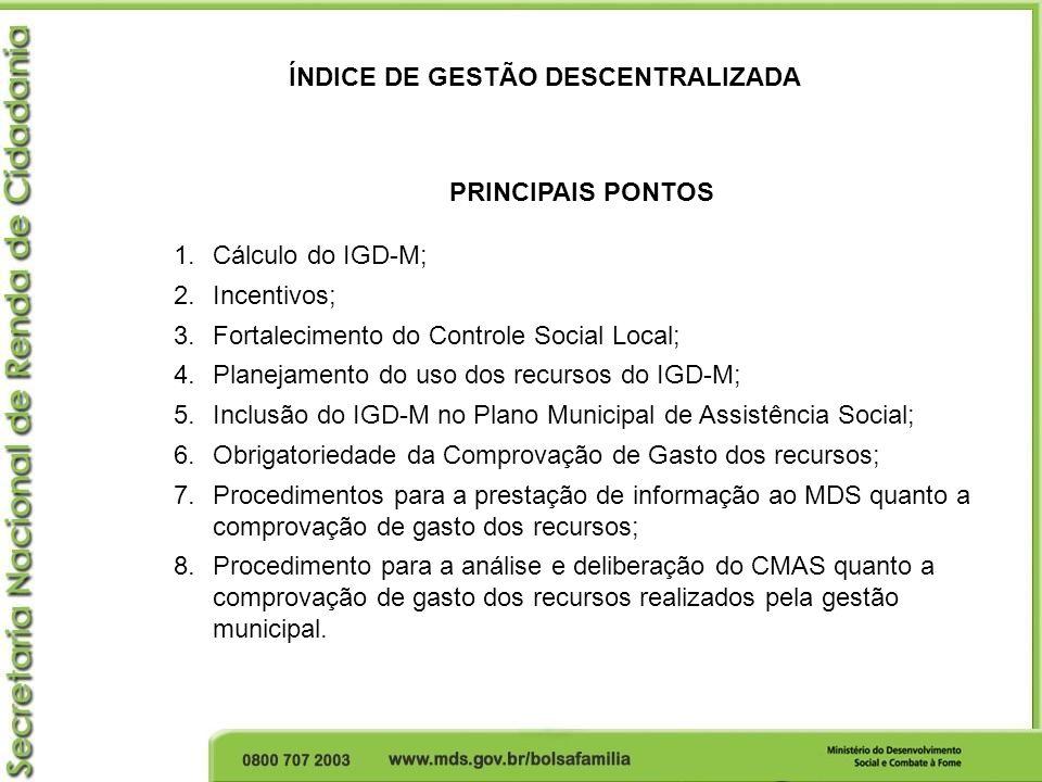 ÍNDICE DE GESTÃO DESCENTRALIZADA PRINCIPAIS PONTOS 1.Cálculo do IGD-M; 2.Incentivos; 3.Fortalecimento do Controle Social Local; 4.Planejamento do uso