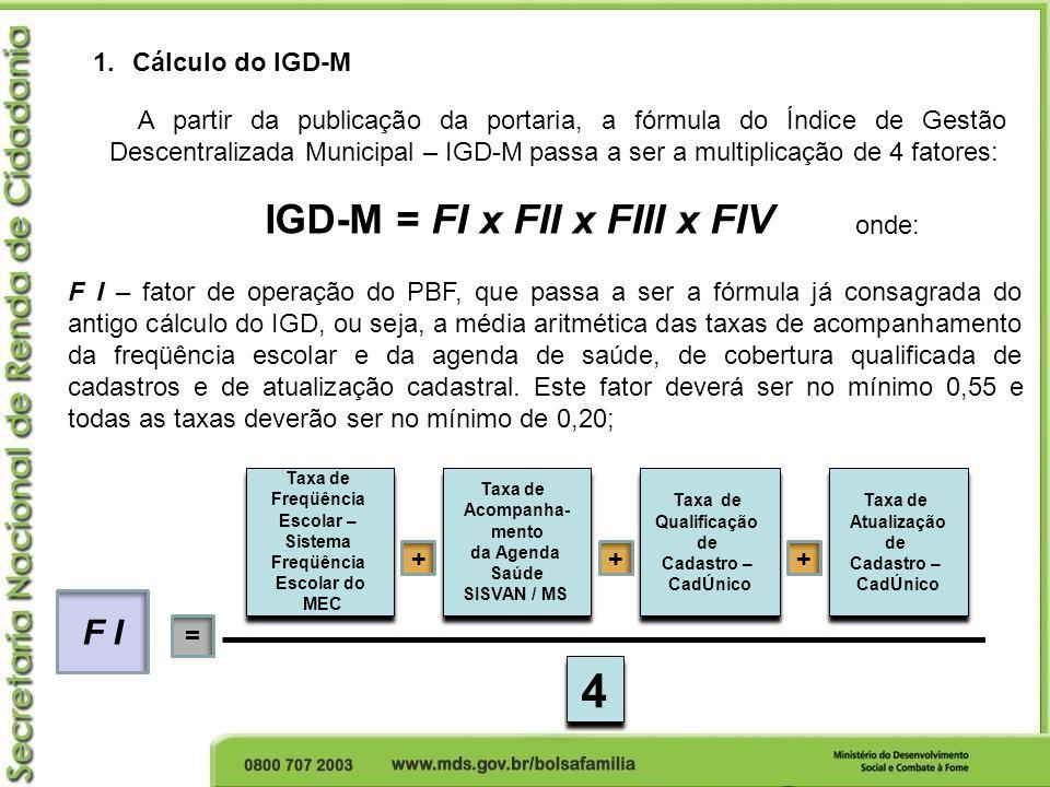 IGD-M = FI x FII x FIII x FIV 1.Cálculo do IGD-M A partir da publicação da portaria, a fórmula do Índice de Gestão Descentralizada Municipal – IGD-M p