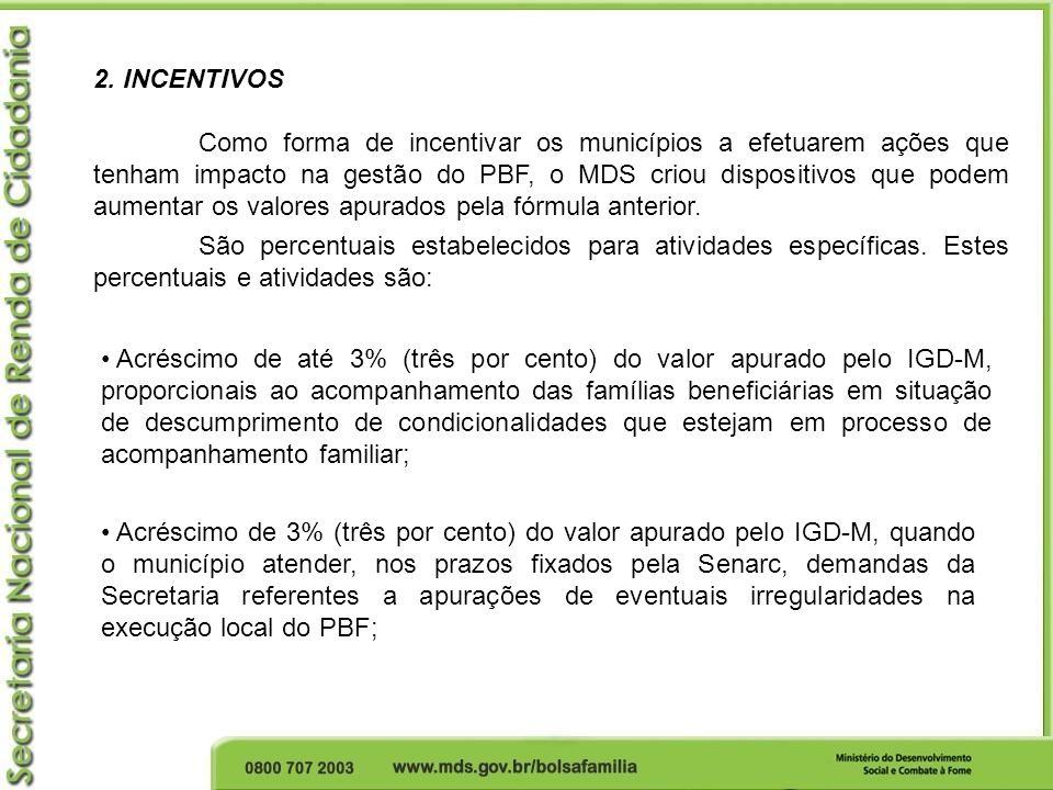 2. INCENTIVOS Como forma de incentivar os municípios a efetuarem ações que tenham impacto na gestão do PBF, o MDS criou dispositivos que podem aumenta