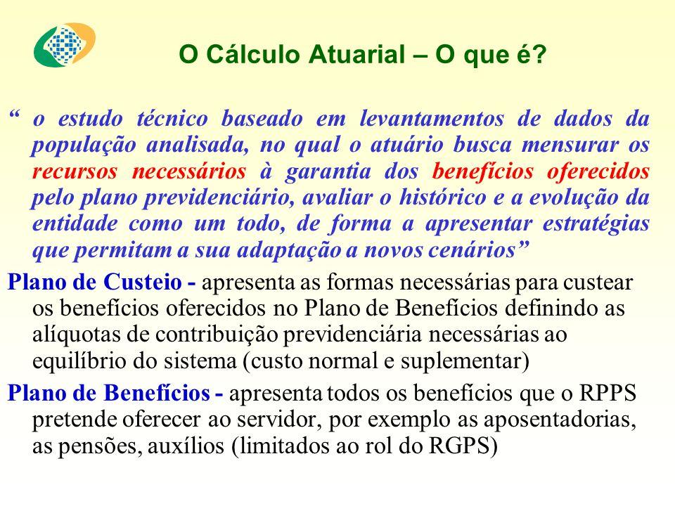O Cálculo Atuarial – O que é? o estudo técnico baseado em levantamentos de dados da população analisada, no qual o atuário busca mensurar os recursos