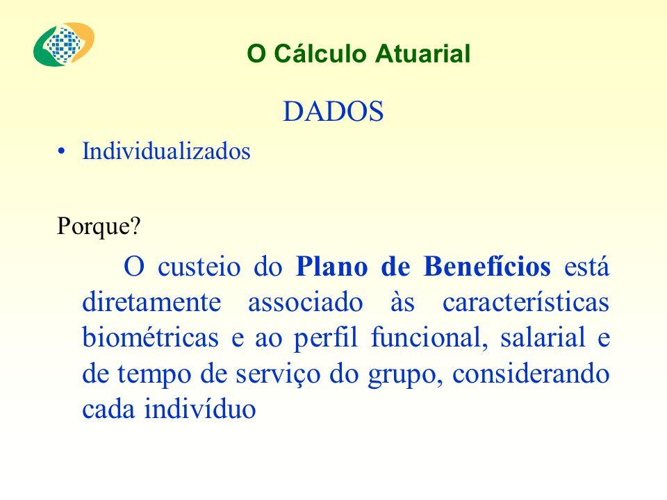 O Cálculo Atuarial DADOS Individualizados Porque? O custeio do Plano de Benefícios está diretamente associado às características biométricas e ao perf