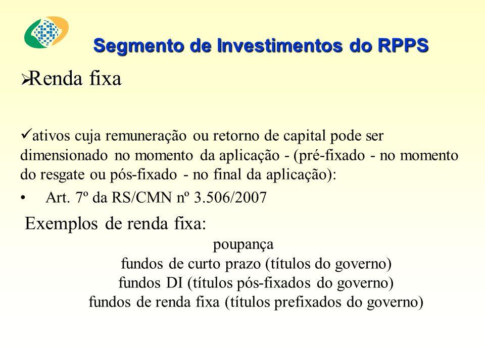 Renda fixa Renda fixa ativos cuja remuneração ou retorno de capital pode ser dimensionado no momento da aplicação - (pré-fixado - no momento do resgat