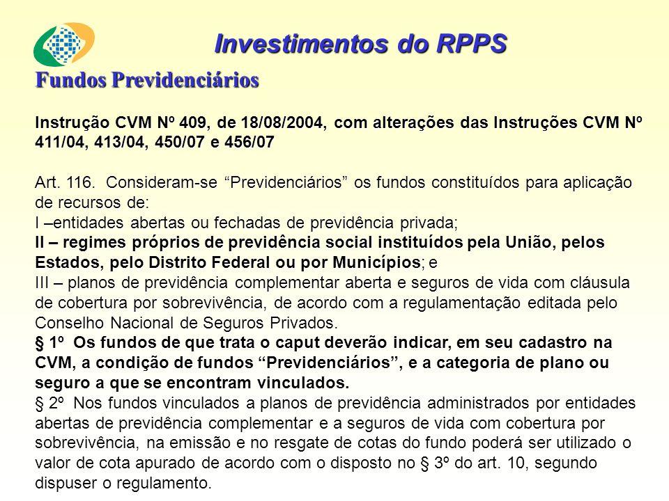 Investimentos do RPPS Fundos Previdenciários Instrução CVM Nº 409, de 18/08/2004, com alterações das Instruções CVM Nº 411/04, 413/04, 450/07 e 456/07