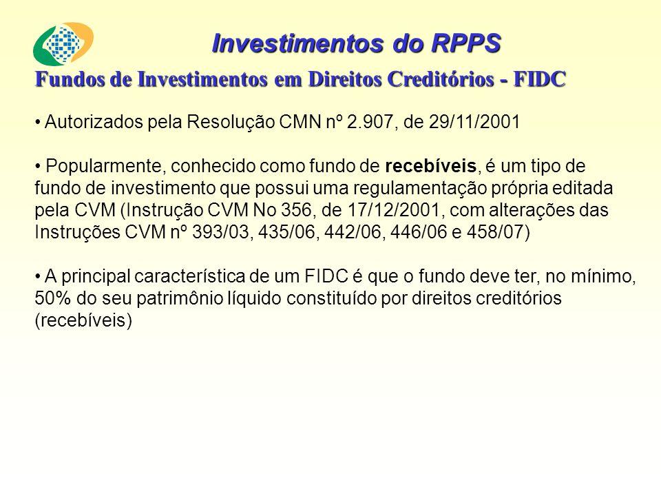 Investimentos do RPPS Fundos de Investimentos em Direitos Creditórios - FIDC Autorizados pela Resolução CMN nº 2.907, de 29/11/2001 Popularmente, conh