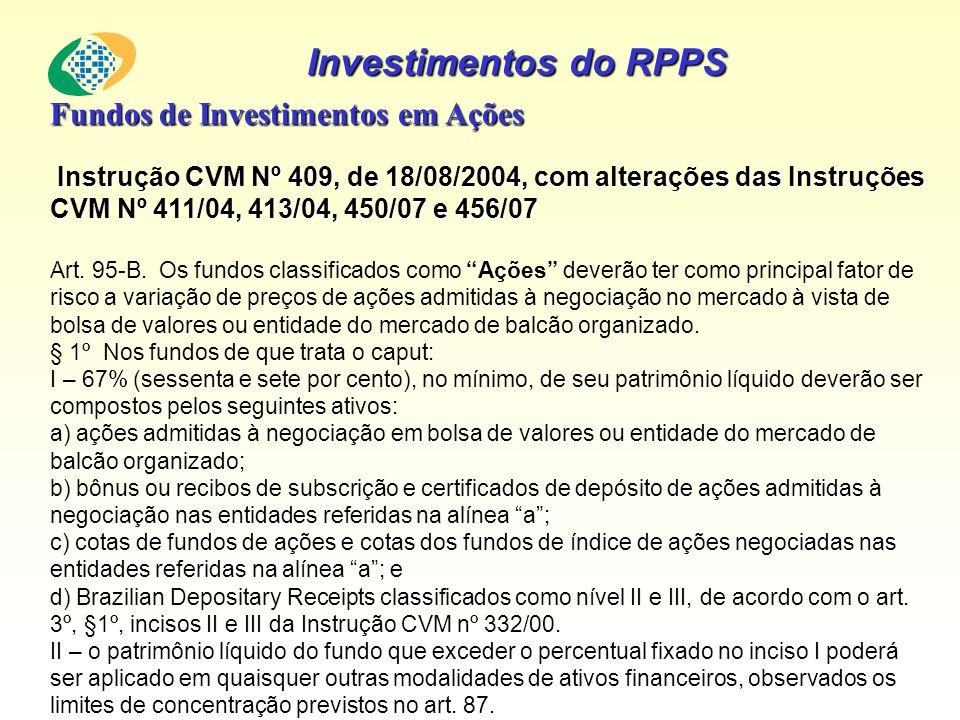 Investimentos do RPPS Fundos de Investimentos em Ações Instrução CVM Nº 409, de 18/08/2004, com alterações das Instruções CVM Nº 411/04, 413/04, 450/0