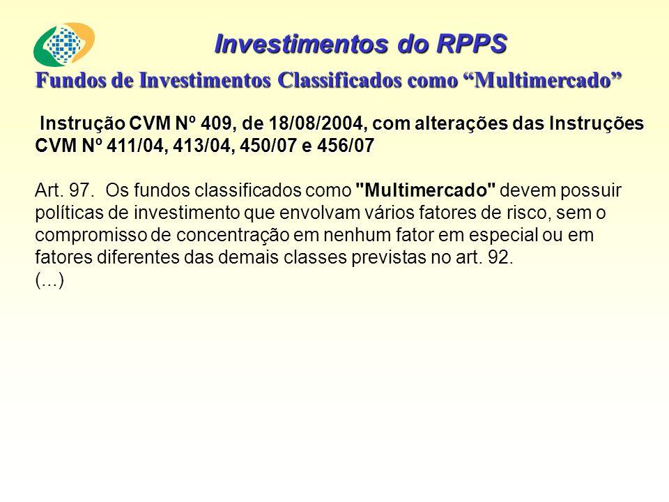 Investimentos do RPPS Fundos de Investimentos Classificados como Multimercado Instrução CVM Nº 409, de 18/08/2004, com alterações das Instruções CVM N
