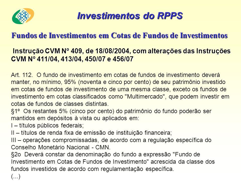 Investimentos do RPPS Fundos de Investimentos em Cotas de Fundos de Investimentos Instrução CVM Nº 409, de 18/08/2004, com alterações das Instruções C