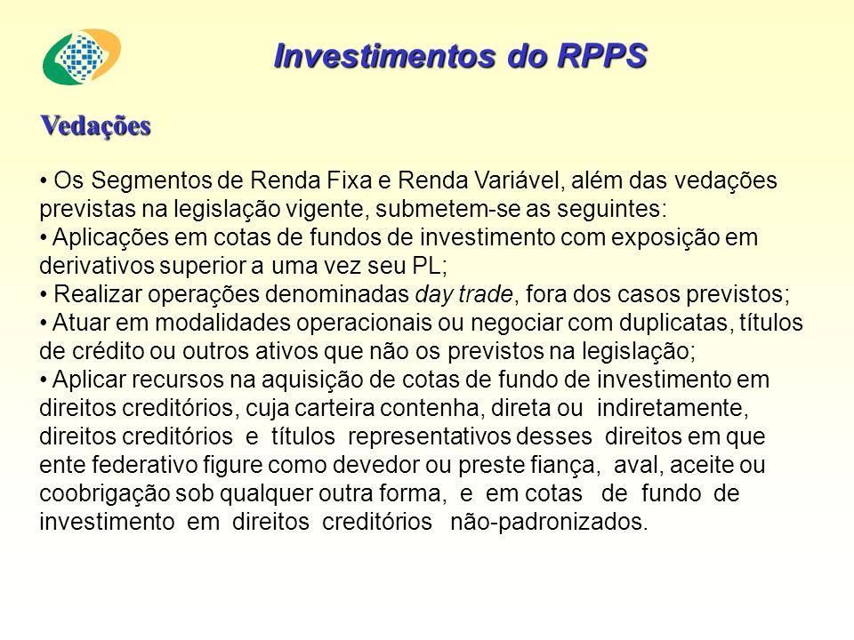 Investimentos do RPPS Vedações Os Segmentos de Renda Fixa e Renda Variável, além das vedações previstas na legislação vigente, submetem-se as seguinte