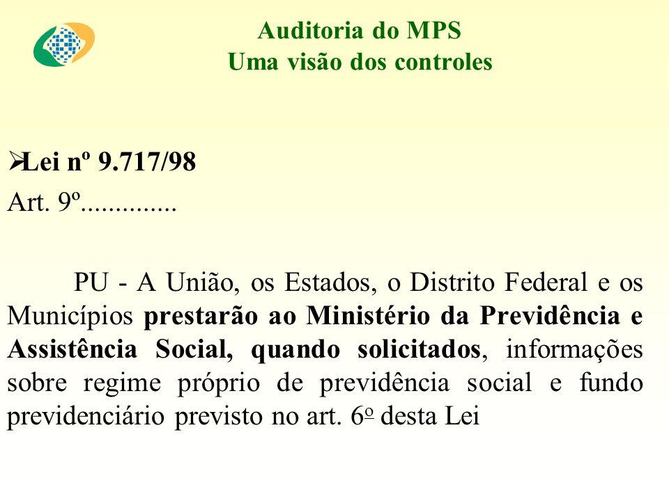 Auditoria do MPS Uma visão dos controles Lei nº 9.717/98 Art. 9º.............. PU - A União, os Estados, o Distrito Federal e os Municípios prestarão