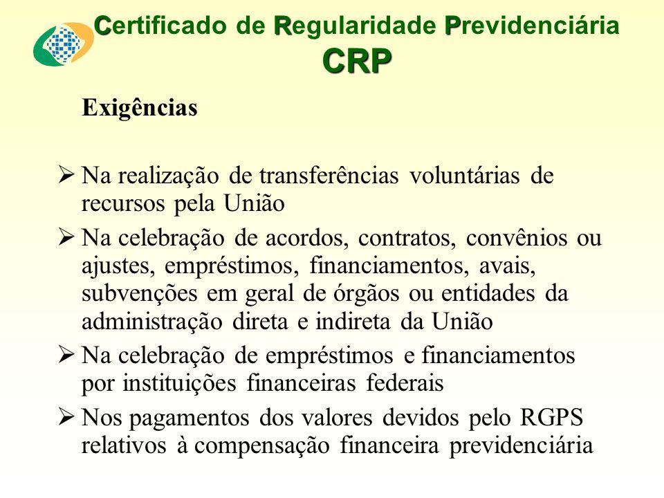 CRP CRP Certificado de Regularidade Previdenciária CRP Exigências Na realização de transferências voluntárias de recursos pela União Na celebração de