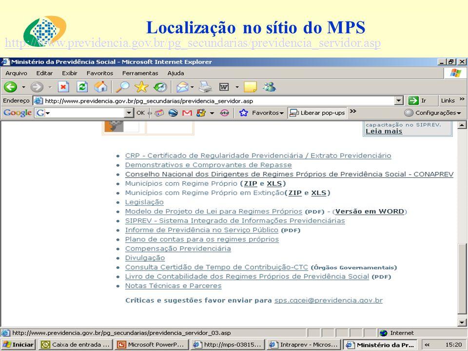 Localização no sítio do MPS http://www.previdencia.gov.br/pg_secundarias/previdencia_servidor.asp