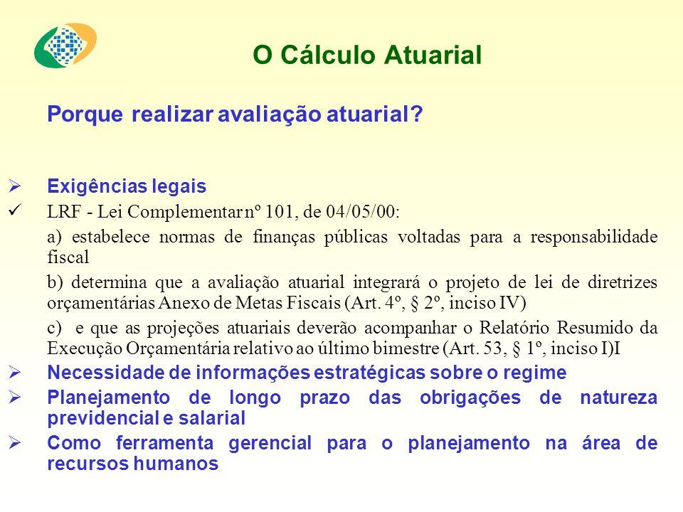 O Cálculo Atuarial Porque realizar avaliação atuarial? Exigências legais LRF - Lei Complementar nº 101, de 04/05/00: a) estabelece normas de finanças