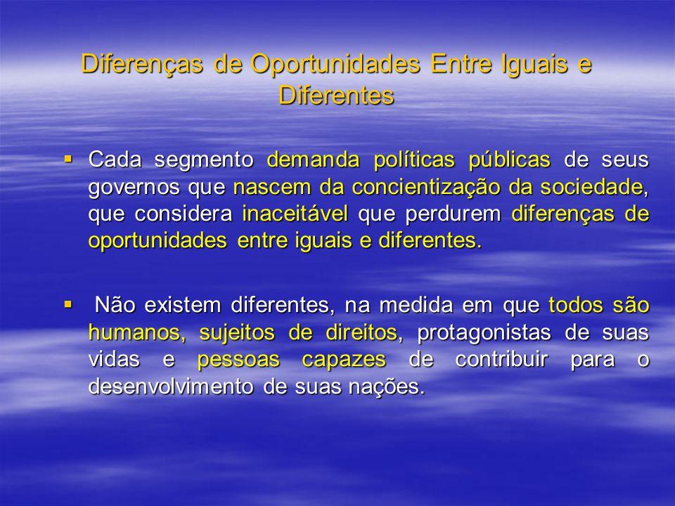 Diferenças de Oportunidades Entre Iguais e Diferentes Cada segmento demanda políticas públicas de seus governos que nascem da concientização da socied