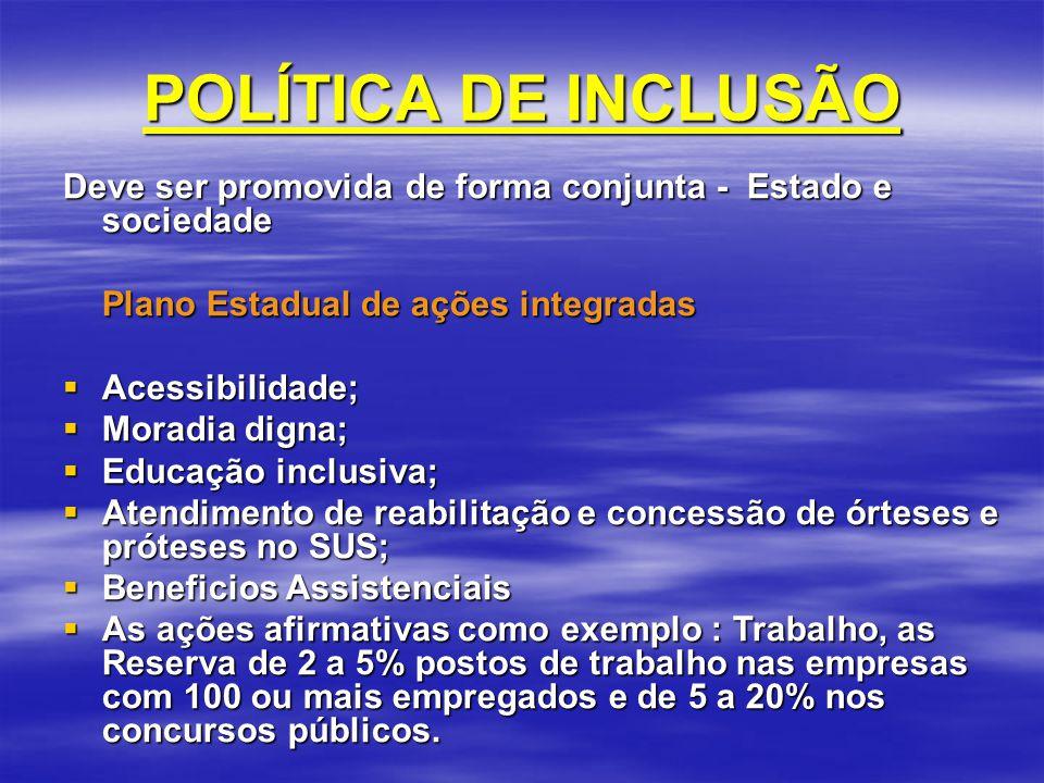 POLÍTICA DE INCLUSÃO Deve ser promovida de forma conjunta - Estado e sociedade Plano Estadual de ações integradas Acessibilidade; Acessibilidade; Mora