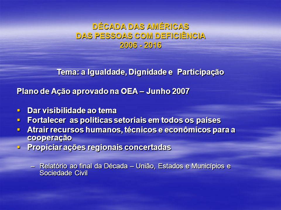 DÉCADA DAS AMÉRICAS DAS PESSOAS COM DEFICIÊNCIA 2006 - 2016 Tema: a Igualdade, Dignidade e Participação Plano de Ação aprovado na OEA – Junho 2007 Dar