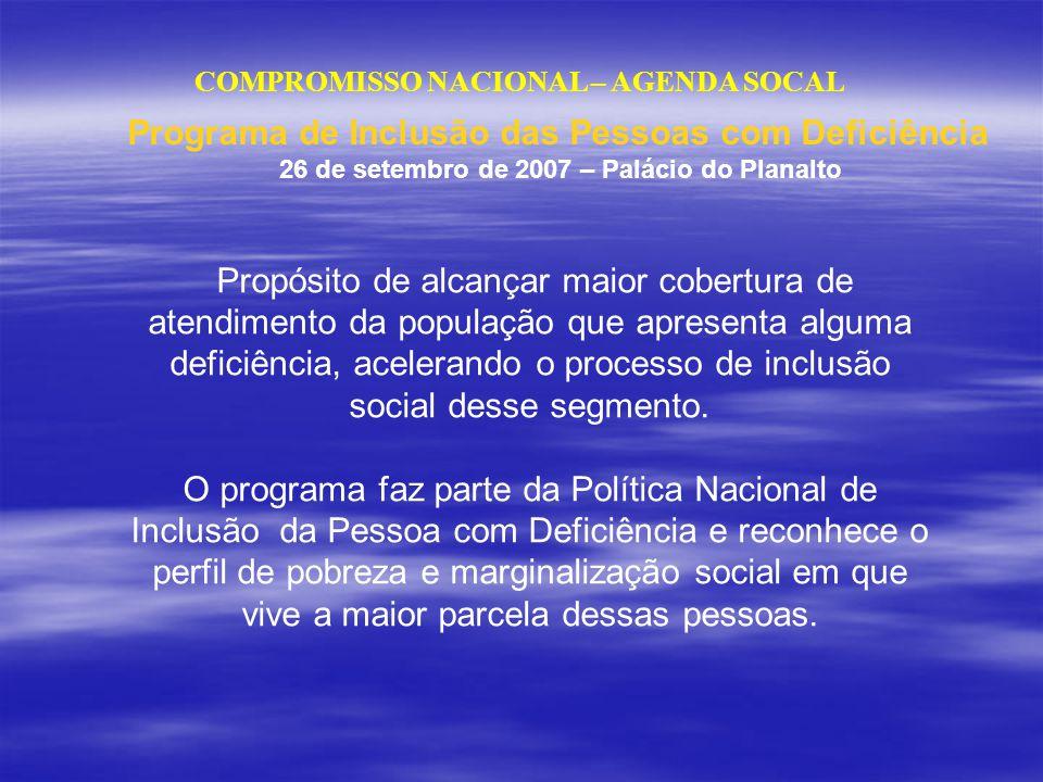 COMPROMISSO NACIONAL – AGENDA SOCAL Propósito de alcançar maior cobertura de atendimento da população que apresenta alguma deficiência, acelerando o p